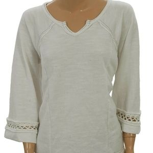 Free People Crochet  Lace Pullover High Low Top M